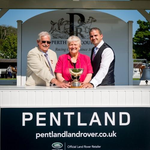 The Gold Cup Presentation L-R John Gellatly, Chairman of the Perth Hunt Liz Grant, Provost Leigh Jackson, Pentland Land Rover